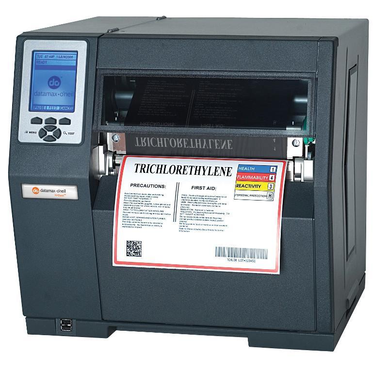 Datamax H-8308X - 8inch-300 DPI, 8 IPS, Bi-Directional TT Printer, 220v: Straight-In EU Plug, Internal Rewinder, 3.0inch Metal Media Hub