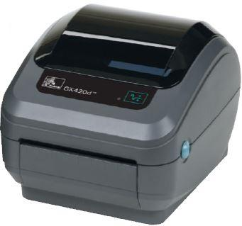 Zebra GX420d; 203dpi, USB, RS232, Centronics Parallel, Cutter - Liner and Tag, 64MB Flash, RTC, Adjustable black line sensor