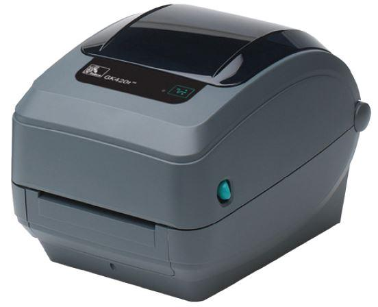 Zebra GX420t; 203dpi, USB, RS232, Ethernet, Cutter - Liner and Tag, 64MB Flash, RTC, Adjustable black line sensor