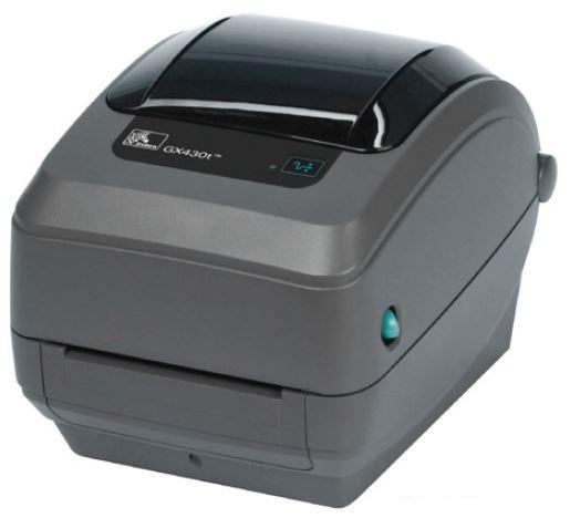 Zebra GX430t; 300dpi, USB, RS232, Centronics Parallel, Cutter - Liner and Tag, 64MB Flash, RTC, Adjustable black line sensor