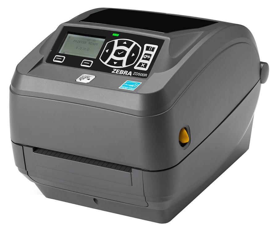 Zebra ZD500; 203 dpi, EU and UK Cords, USB/RS232/Centronics Parallel/Ethernet/802.11abgn and Bluetooth, Dispenser (Peel)