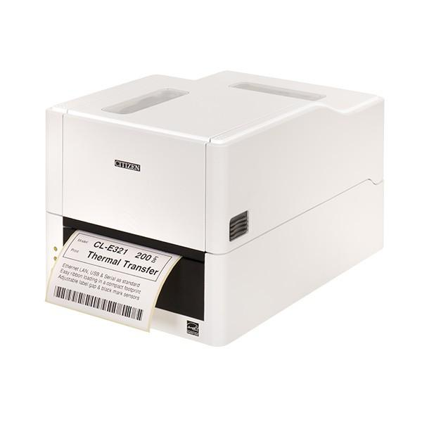 Термопринтер этикеток Citizen CL-E321 Printer; LAN, USB, Serial, White, EN Plug