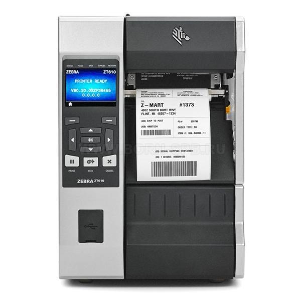 "Zebra TT Printer ZT610; 4"", 203 dpi, Euro and UK cord, Serial, USB, Gigabit Ethernet, Bluetooth 4.0, USB Host, Tear, RFID UHF Encoder, Color, ZPL-2"
