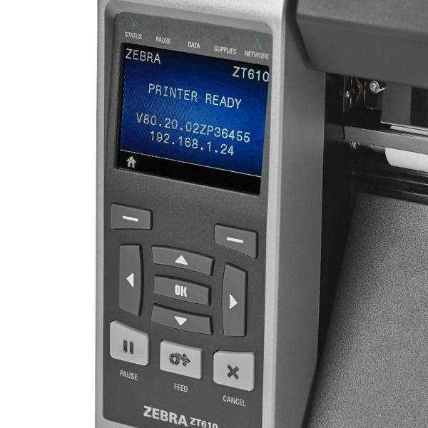 "Zebra TT Printer ZT610; 4"", 203 dpi, Euro and UK cord, Serial, USB, Gigabit Ethernet, Bluetooth 4.0, USB Host, Tear, RFID UHF Encoder, Color, ZPL-5"