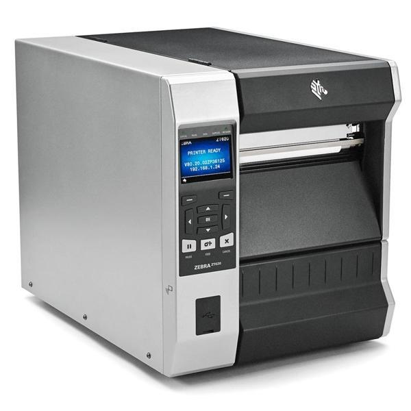"Zebra TT Printer ZT620; 6"", 300 dpi, Euro and UK cord, Serial, USB, Gigabit Ethernet, Bluetooth 4.0, USB Host, Tear, RFID UHF Encoder, Color, ZPL-2"