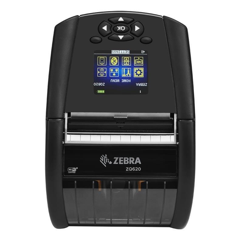 "Zebra DT Printer ZQ620 3""/72mm; English fonts,Dual 802.11AC / BT4.x, Linerless platen, 1.375"" core, Group E, Shoulder strap, Belt clip, Media Width Sen-1"